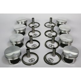 WISECO 4.125 LS FLAT TOP 2618 FORGED PISTON /  STAINLESS RING KIT  4.000 STROKE  (UNIVERSAL VALVE POCKETS FOR CATHERDRAL, LS3 OR LS7 HEAD)